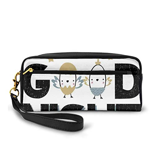 Pencil Case Pen Bag Pouch Stationary,Good Night Lettering with New Born Happy Chicks In The Eggshell Nesting and Stars,Small Makeup Bag Coin Purse