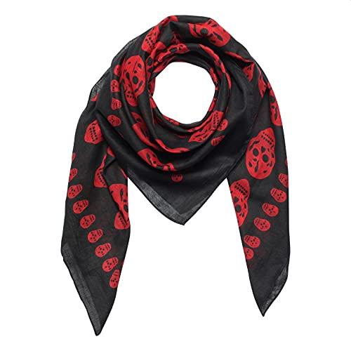Superfreak Baumwolltuch - Totenköpfe 1 schwarz - rot - quadratisches Tuch