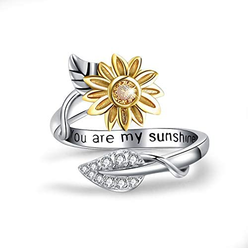You are My Sunshine Sunflower Ring Stainless Steel Adjustable Cubic Zirconia Jewelry Size 8 product image