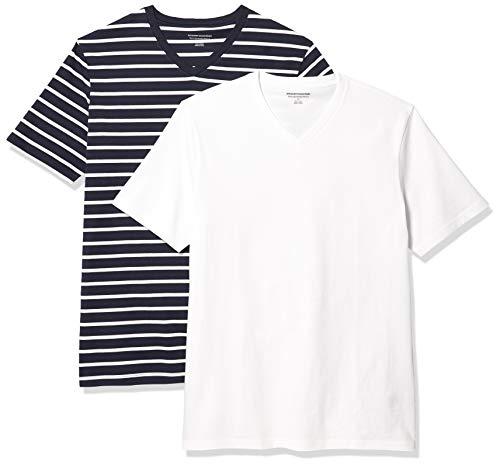 Amazon Essentials 2-Pack Slim-Fit V-Neck T-Shirt Camiseta, Azul Marino y Blanco Brennan...