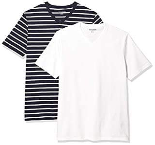 Amazon Essentials 2-pack Slim-fit V-neck T-shirt undershirts, Marineblau und Weiß Brennan Streifen / Weiß, Medium (B07YDY4KJT) | Amazon price tracker / tracking, Amazon price history charts, Amazon price watches, Amazon price drop alerts