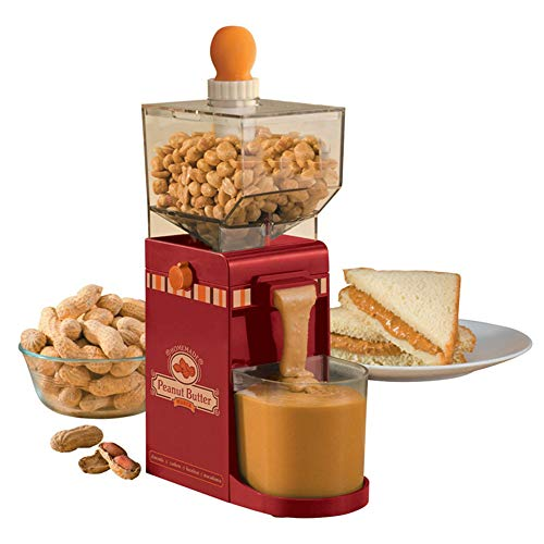 LHK Mini Household Electric Peanut Butter/Coffee Grinder, 500Ml Portable Nut Butter Manufacturer, Non-Slip Base, Hourglass Inlet, ABS+Stainless Steel, Red.