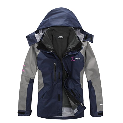 SYRINX Homme 3 en 1 Coupe-Vent Capuche Manteau Imperméable Respirante Outdoor Sport Veste pour Camping Randonnée (Medium, Bleu foncé)