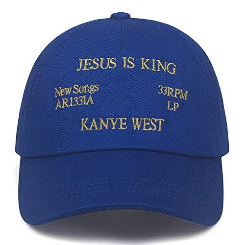 PPSTYLE Kanye West Jesus ist König Album Baseball Caps Stickerei Papa Hut Unisex Frauen Mann Hüte Neueste Album Snapback Hüte-BLAU