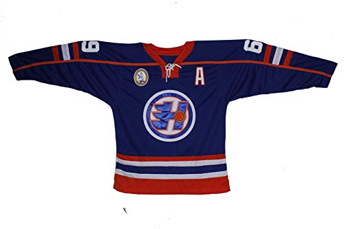 borizcustoms Doug Glatt Halifax 2 Hockey Jersey Includes EMHL and A Patches Stitch (38, Blue)