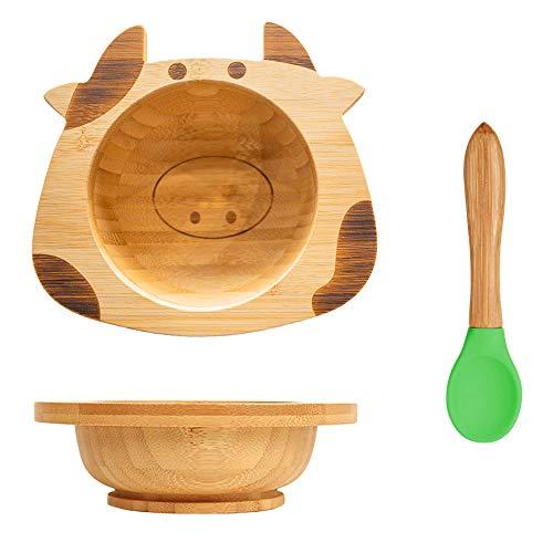 Juego de platos de bambú para niños Cuenco infantil con ventosa cuchara para bebé (vaca)