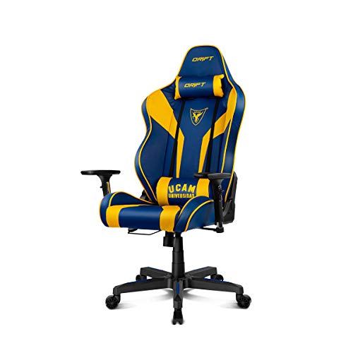 Drift DR111UCAM Silla Gaming, Polipiel, Azul/Amarillo, Profesional, Respaldo reclinable, Altura Regulable, Reposabrazos Ajustables