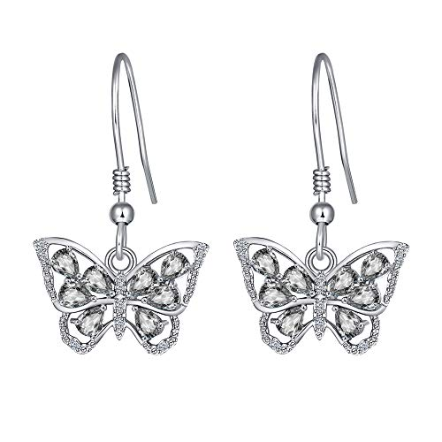 925 Sterling Silver Cute Dainty Diamond April Birthstone Monarch White Butterfly Dangle Earrings for Women Girls and Kids Trendy Hanging Animal Jewelry Gifts Daughter Wife Girlfriend Teenager Birthday Christmas Mother's Day Valentines Day Present