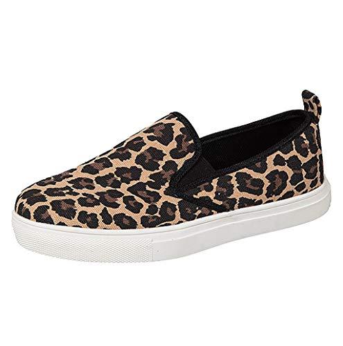 Damen Outdoor Freizeit Sneaker,Damen Spring beiläufige Leopardenmuster Flache Schuhe Slip-On Loafer Schuhe Moderne Low-top Weichen Halbschuhe Flatschuhe Gr.35-43 TWBB