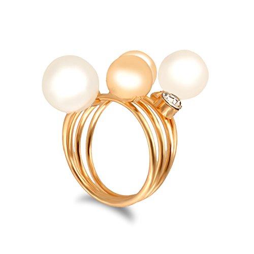 Fasherati spirale anello in bianco e oro perle