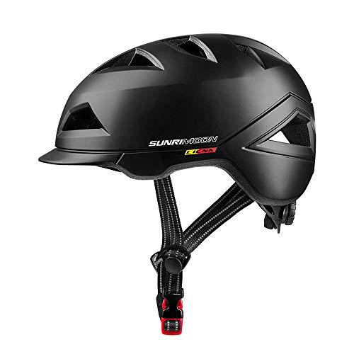 SUNRIMOON Fahrradhelm für Erwachsene, mit wiederaufladbarem USB-Licht, Urban Commuter Leichter Fahrradhelm, verstellbare Größe für Herren/Damen, 22,44-24,41 Zoll, Unisex, Schwarz