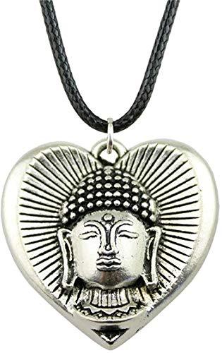 DUEJJH Co.,ltd Collar Vintage Cadena de Cuero 32X32Mm Buda en corazón Colgante Collar para Mujer Regalo Color Plata Antigua