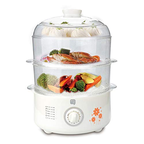 Elektrische Dampfgarer, Großräumige Elektrische Lebensmittel, Edelstahl 3-Schicht-Gemüse-Dampfer für Timer Kochen, Reis, Fleisch, Eier, Gemüse
