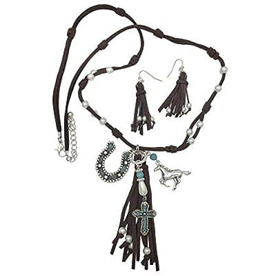 Gypsy Jewels Long Faux Suede Tassel Fringe Western Style Horse Horseshoe Necklace & Earrings Set (Brown Silver Tone)
