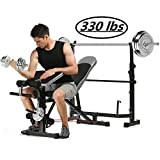 Kepteen 330lbs Adjustable Olympic Weight Bench with Preacher Curl, Leg Developer, Multi-Functional Weight Bench Set Power Tower Workout Dip Station for Indoor Exercise (US Stock)