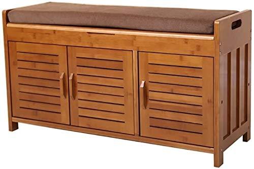 Banco de zapatos de bambú zapatero zapatero de madera de prueba de zapatos banco de almacenamiento multifuncional taburete de almacenamiento