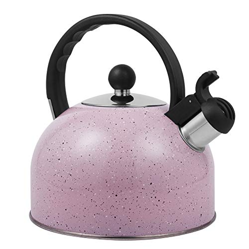 Tea Kettle, Whistling Stainless Steel Teakettle for All Stovetop Tea, Thin Base,2.5 liters pink
