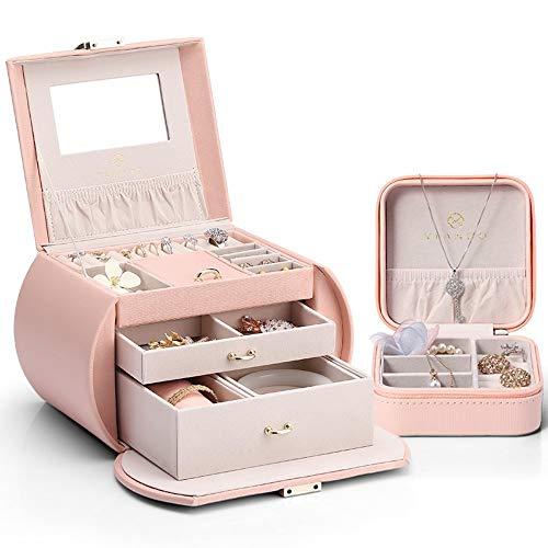 Drametree Boîte à bijoux avec miroir de maquillage Mère Set Bijoux à la main boîte de rangement anniversaire Saint Valentin cadeau de Noël de grande capacité boîte à bijoux + boîte à bijoux portable