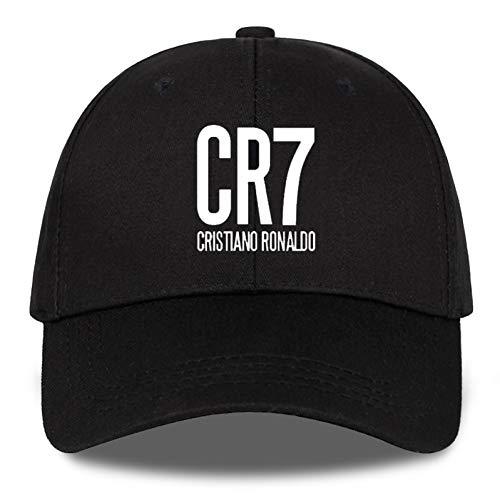 Sanjiayi Baseballmützen Cristiano Ronaldo Cr7 Madrid Für Männer Verstellbare Kappe Portugal Schlichte Hüte Mode Baseballmütze Herbstmütze,Black