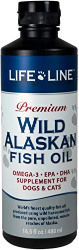 Life Line Pet Nutrition Wild Alaskan Fish Oil Omega-3 Supplement for Skin & Coat – Supports Brain, Eye & Heart Health in Dogs & Cats, 16.5oz