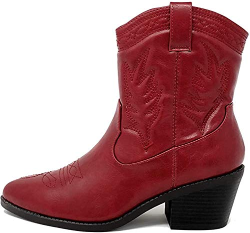 Soda Picotee Women Western Cowboy Cowgirl Stitched Ankle Boots (9, Red PU)