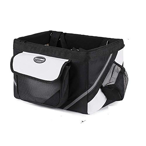 xluckx Foldable Bicycle Basket,Pet Cat Dog Carrier Front Removable Bicycle HandlebarBasket,Quick Release Easy Install -Black_382525cm
