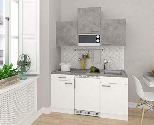 respekta Mini cuisine simple - 150 cm - Blanc béton