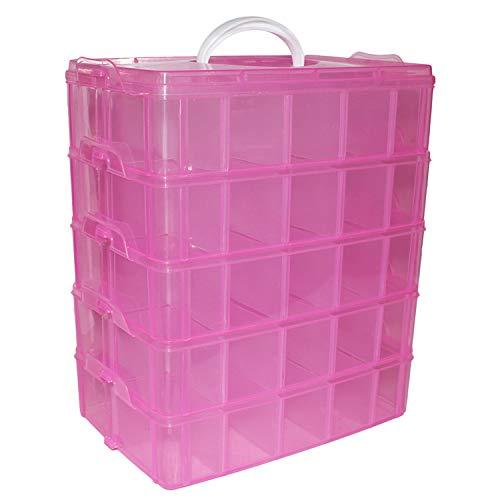 5 Laags Opslag Koffer - H29.5xB24xD15cm Roze Plastic Stapelbare Container met 50 Aanpasbare Verdelers – Opslag Organiser Draag Koffer Kunst, Hobby, Kralen, Juwelen, Schoonheid, Nagel Haar Accessoires