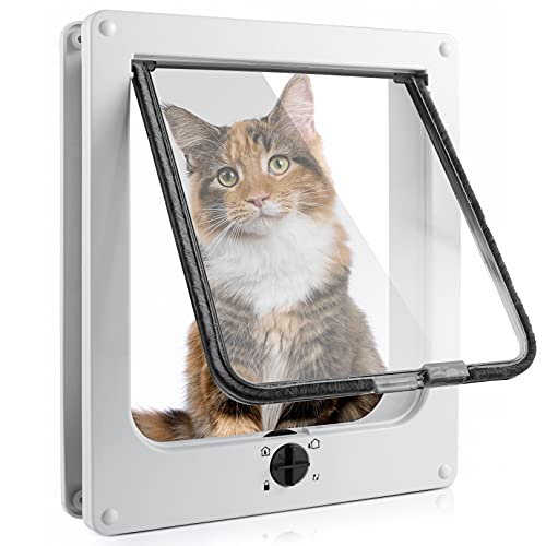Sailnovo Katzenklappe 4-Way Magnetic Lock hundeklappe Haustiertüre Cat Flap große, 30*25.5*6cm Dog Cat Pet Door Flap Easy Install with Telescopic Frame with Heavy Duty Quiet Magnetic Frame, XL Weiß