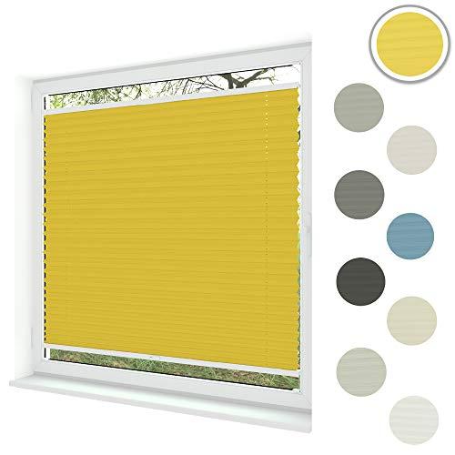 Sunlux24 Plissee Basic | Einfache Montage im Glasfalz mit Bohren | In Maßanfertigung & vielen Lichtdurchlässig & 100% Blickdicht! (Gelb, B: 81-90cm | H: 101-150cm)