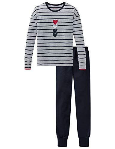 Schiesser Mädchen Anzug lang Zweiteiliger Schlafanzug, Grau (Grau-Mel. 202), (Herstellergröße: 152)