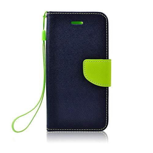 HandyBook Étui à Rabat avec Fermeture magnétique, Fonction Support et Compartiment pour Cartes pour Huawei P10 Bleu Marine/Vert