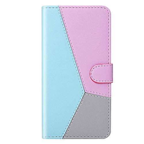vingarshern Hülle für Sony Xperia Z6 Handytasche Klappbares Magnetverschluss Lederhülle Flip Standfunktion Schutzhülle Xperia Z6 Hülle Brieftasche-(Blau+Rosa+Grau) MEHRWEG