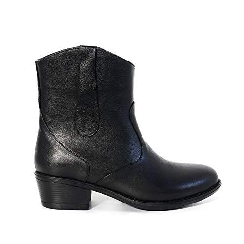 KUZEY SHOES Damskie buty – botki damskie – botki damskie – buty zimowe damskie – botki – damskie – skórzane buty damskie, czarny - czarny - 40 EU