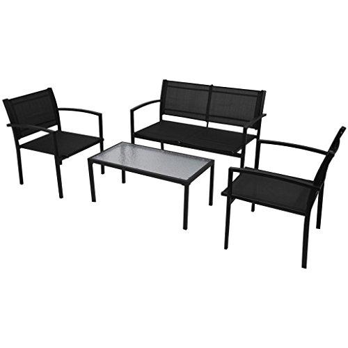 Lingjiushopping extérieur Ensemble de salon 4 pièces Noir Texilene Chaise Couleur : Noir et banc Matériau : acier revêtu par pulvérisation Cadre + Texilene Tissu
