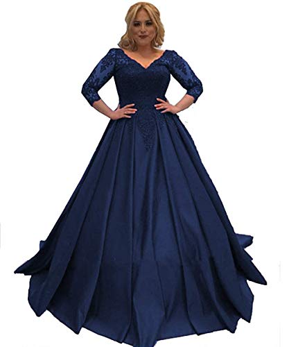 Nina Ding Lace Long Sleeves Prom Dresses V Neck Satin Ball Gown Formal Evening Dress NND028 Navy