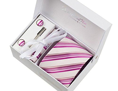 S.R HOME Rayures Violettes Ensemble Cravate étanche d'homme, Mouchoir, épingle et boutons de manchette coffret cadeau