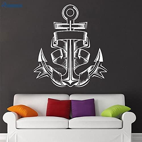 Decoración náutica para el hogar, ancla, vinilo, pegatinas de pared, calcomanías artísticas, decoración del hogar, habitación de niños, baño, azulejo, papel tapiz, Mural-S