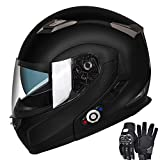 Motorcycle Bluetooth Helmets, FreedConn Flip up Dual Visors Full Face Helmet Built-in Integrated Intercom Communication System(Range 500M,2-3Riders Pairing,FM radio,Waterproof) (Matte Black, L)