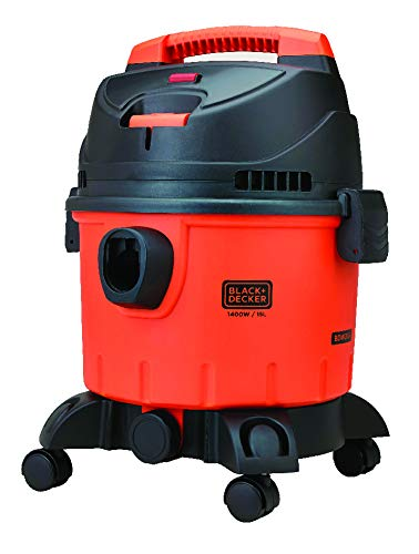 BLACK+DECKER WDBD15 15-Litre, 1400 Watt, 16 KPa High Suction Wet and Dry Vacuum Cleaner and Blower with HEPA Filter and Reusable Dustbag (Red/Grey)