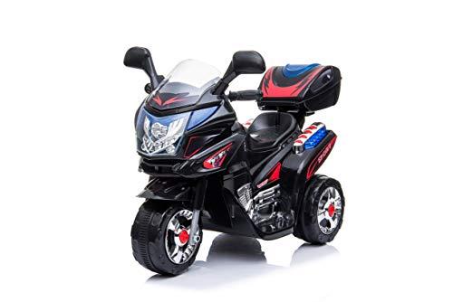 Toyas Kindermotorrad Elektromotorrad Kinder Polizei Motorrad Musik Sound in Schwarz