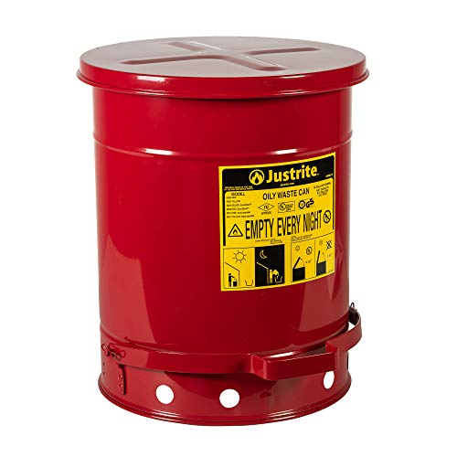Justrite 9300 10 Gallon Red Galvanized Steel Oily Waste Can with Foot Lever Opening Device