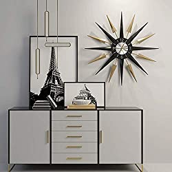 Mid Century Modern Clock 28'' Starburst Wall Clock , Battery Operated Quartz Movement, Large Decorative Wall Clocks for Living Room,Office (Non Ticking ,Metal )