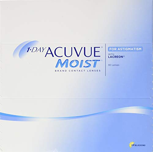 Acuvue 1-Day Acuvue Moist For Astigmatism Tageslinsen weich, 90 Stück/ BC 8.5 mm / DIA 14.5 mm/ CYL -2.25 / ACHSE 10 / -0.5 Dioptrien