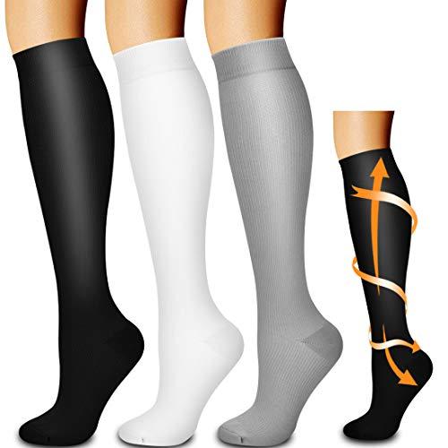 Laite Hebe compression socks,Black+White+Grey,S/M (3 pairs)