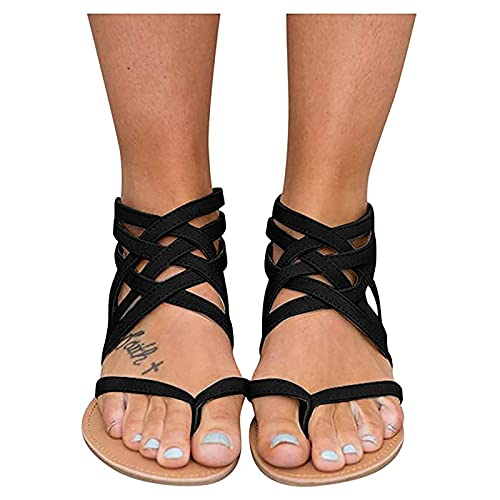 Orgrul Sandalias Mujer Verano 2021, Chanclas Mujer Verano Plana, Estilo Bohemia Zapatos de Dedo Sandalias Talla Grande Cinta Casuales Playa Chanclas Romanas de Mujer Azul Negro 18F8 (39, A)