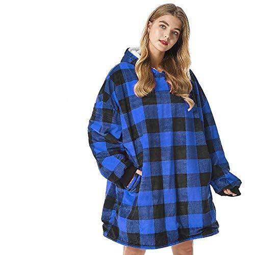 KPII Manta Sudadera con Capucha, Calentita Grande Pullover Mullido de Doble, Manta de TV para Hombres, Mujeres,Azul,One Size