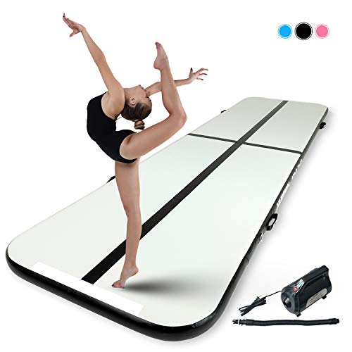 Murtisol 16ft Inflatable Gymnastics Training Mats Tumbling Mats 4 Inch Thickness for Home Use/Cheerleading/Training/Yoga/Water W/Electric Pump, Black