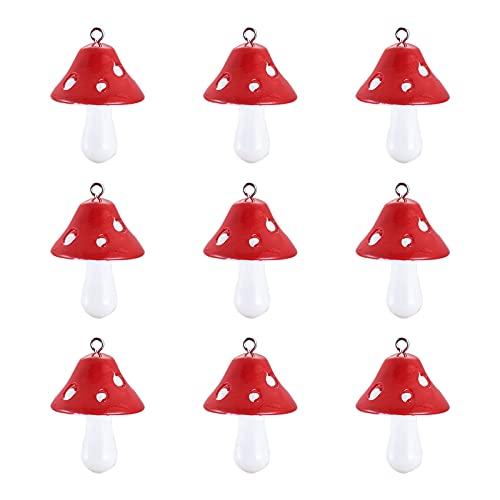 Givenny 200 colgantes de seta de resina, color rojo, lindo, de resina, de color rojo, engasta, cuentas con lazo para hacer joyas, agujero: 2 mm