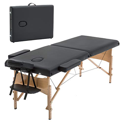 Massage Table,2 Fold Massage Bed 73 Inch Long 28 Inch Wide,Lash Bed Portable Massage Table Height Adjustable Salon Bed Spa PU Portable Salon Bed with Carry Case